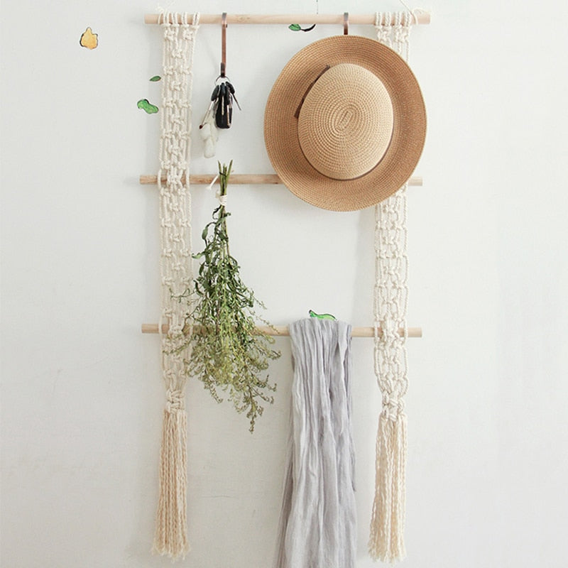 Boho Macrame Wall Hanging Rack - Indoor Therapy