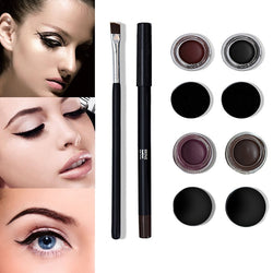 3 Pcs/Set Women Lady Make Up Eyeliner Gel Eye Liner Pencil Brush Kit