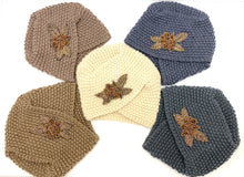 Load image into Gallery viewer, Vintage Knit Hat with Beaded Flower Broach