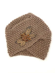 Vintage Knit Hat with Beaded Flower Broach
