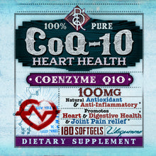 Load image into Gallery viewer, CoQ10 | 100% Pure and Natural | Coenzyme Q10 Heart Health | 100mg | 120 Softgels | BelaRouche Supplements