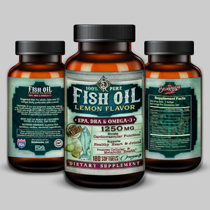 Lemon Flavor Fish Oil 1250mg | 6-Month Supply | EPA, DHA, OMEGA-3 | Heart Health | BelaRouche Supplements