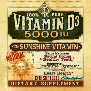 Vitamin D | 100% Pure | Vitamin D3 5000 IU | Sunshine Vitamin | All Natural | BelaRouche Supplements