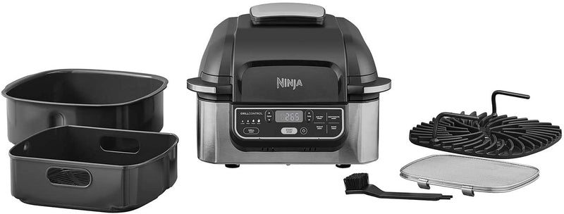 Ninja Foodi Health Grill and Air Fryer AG301ME 5.7 Litres, Brushed Steel and Black