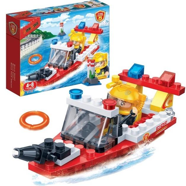 Banbao 7119 Fire Firefighter Boat 62 PCS Kids Educational Building Bricks