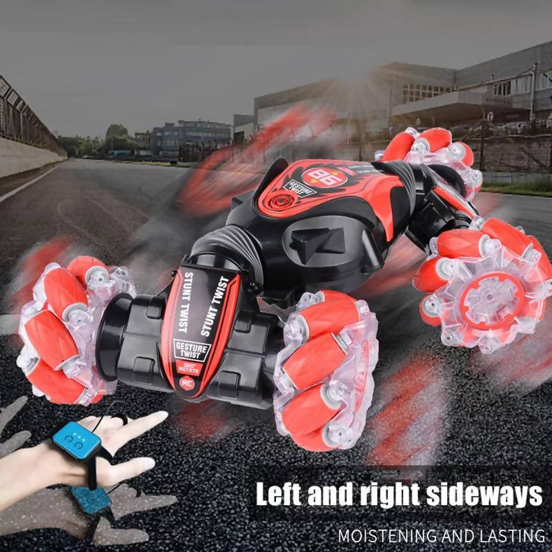 Hot RC Stunt Car 4WD Watch Gesture Sensor Control Deformable Electric Car All-Terrain Car with LED Light Music for Kids LBV
