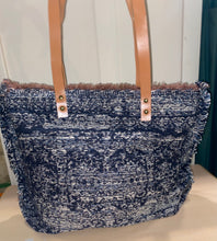 Load image into Gallery viewer, Carpet Bag - Blue Gray / Brown Leather Straps