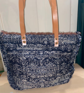 Carpet Bag - Blue Gray / Brown Leather Straps