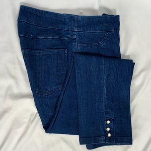Jean like ankle pant with pearl cuff