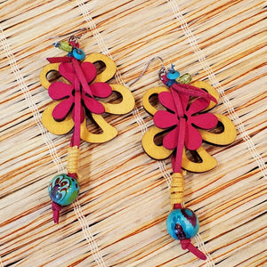 Pre-Order Flower Bead & Cord Drop Earring