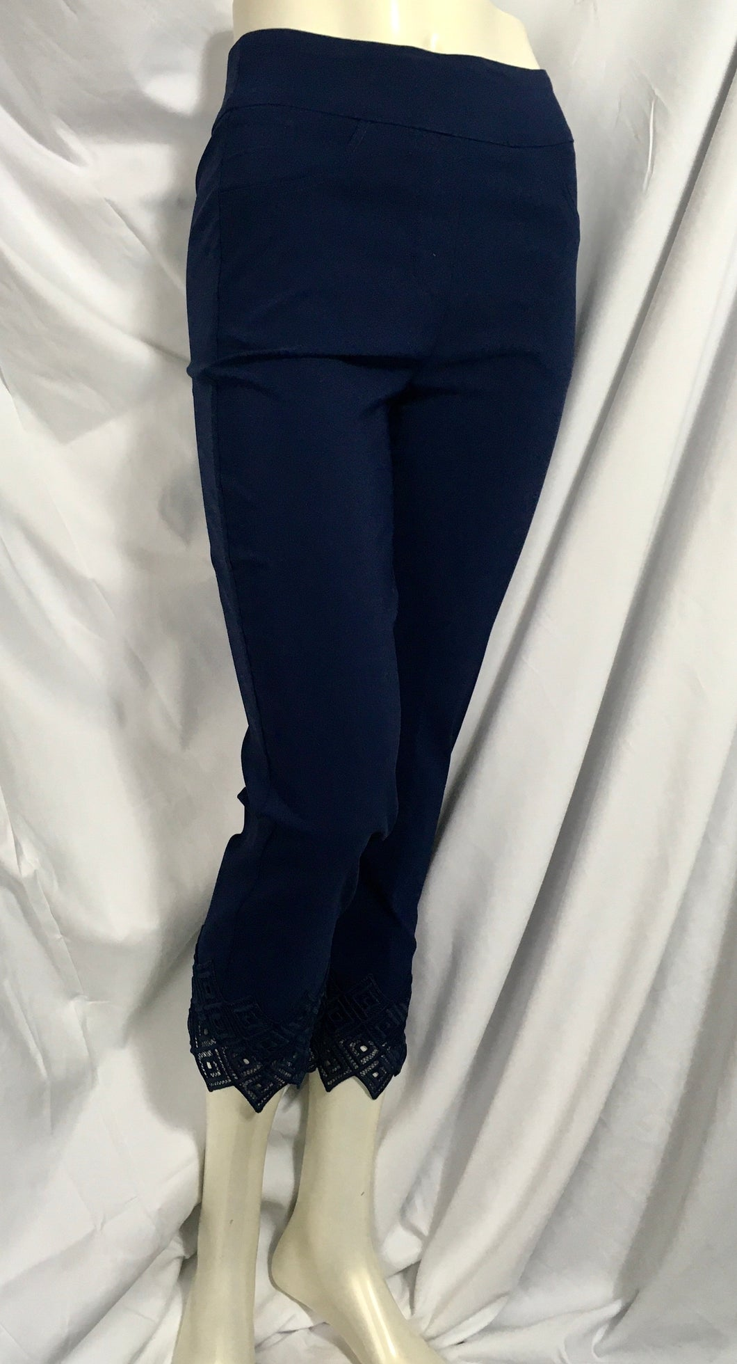 Navy Pant with Lace Cuff