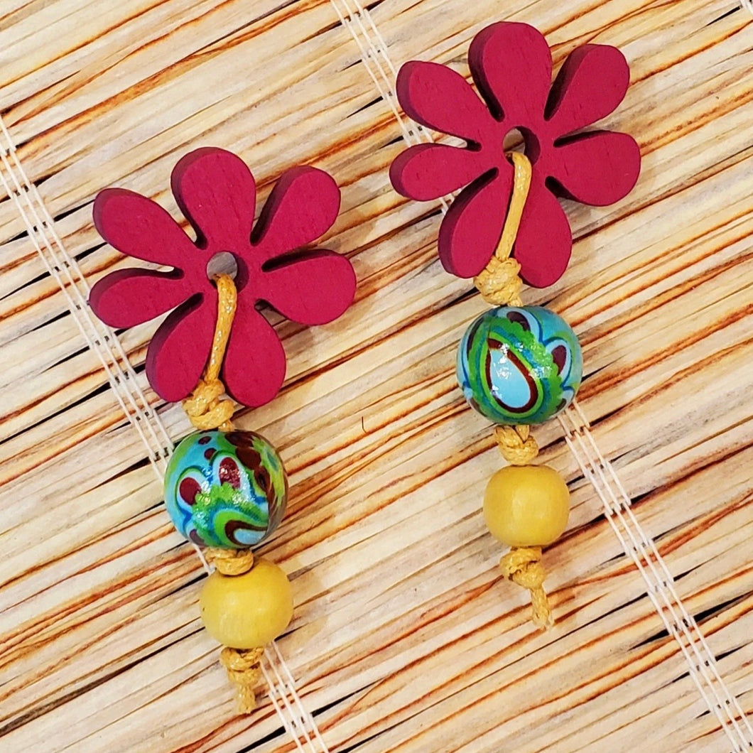 Pre-Order Bead & Cord Flower Top Earring