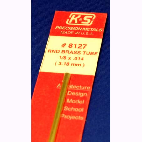 "KS8127 K&S Metals Round Brass Tube, 1/8"" x 12"""