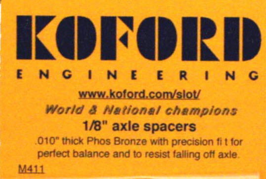 "M411 Koford 1/8"" Axle Spacers, .010"" Thick"