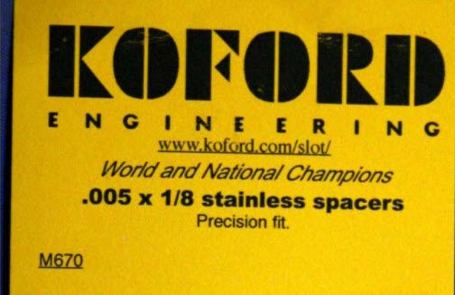 "M670 Koford 1/8"" Axle Spacers, .005"" Thick"