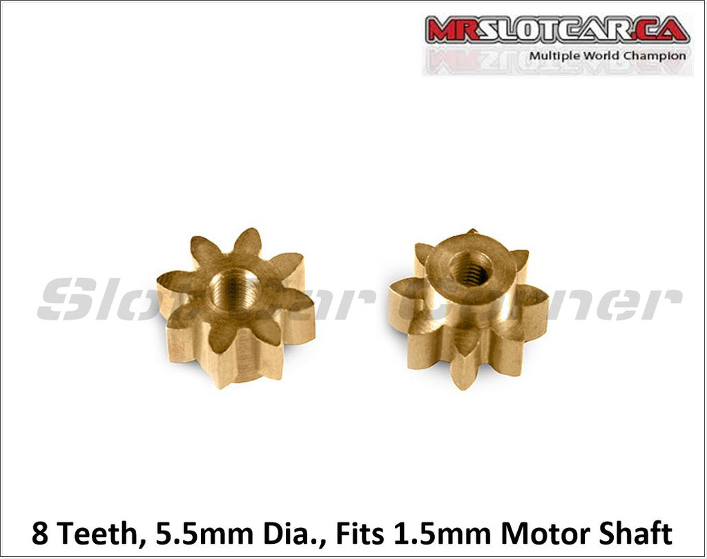 MR4108R MRSLOTCAR 8T Brass Pinion Gear, 5.5mm