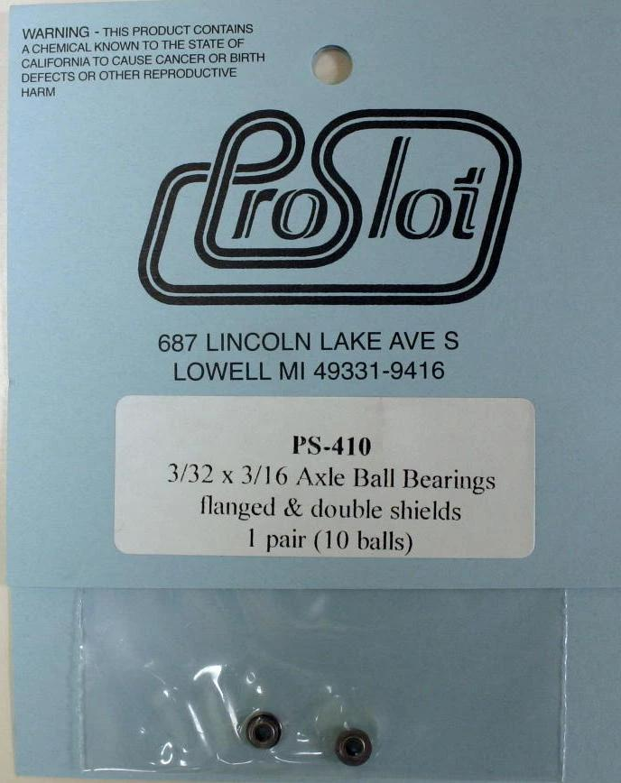 "ProSlot PSL410 3/32"" x 3/16"" Single Flange Ball Bearings, Shielded"