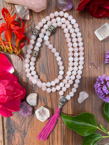 Handmade Rose Quartz Crystal 108 Mala Beads