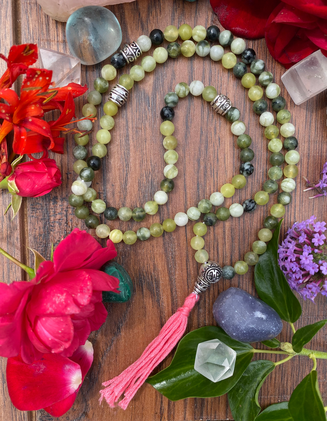 Handmade Green Jade Crystal 108 Mala Beads
