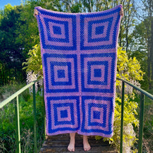 Load image into Gallery viewer, Handmade Crochet Ajna Chakra Indigo/Blue Yoga Blanket