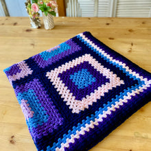 Load image into Gallery viewer, Handmade Crochet Chakra Indigo/Pink/Blue Yoga Blanket