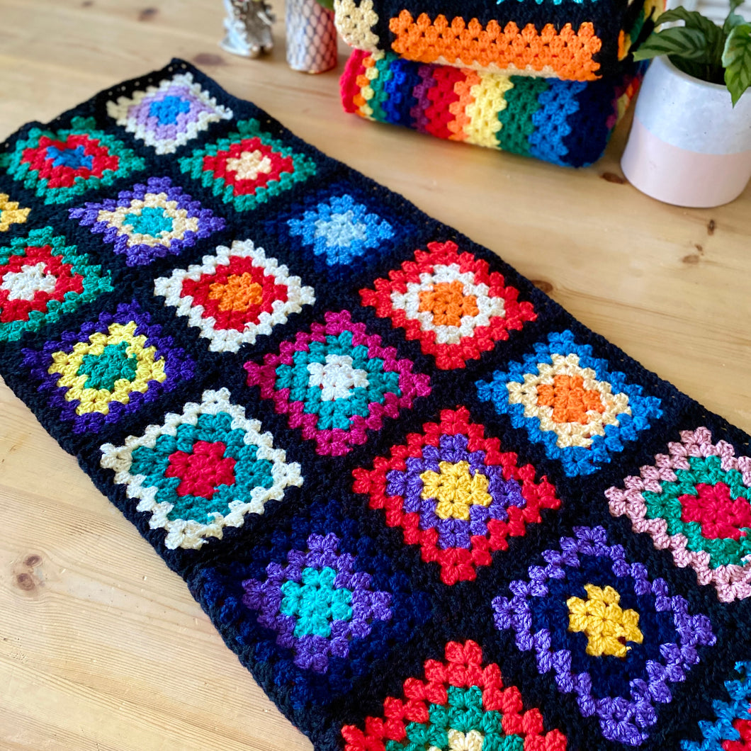 Handmade Crochet Multicoloured/Black Yoga Blanket