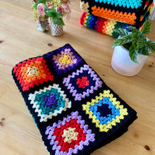 Load image into Gallery viewer, Handmade Crochet Multicoloured/Black Yoga Blanket