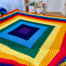 Load image into Gallery viewer, Handmade Large Crochet Chakra Yoga Blanket