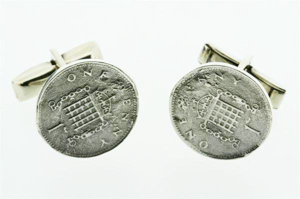 Sterling Silver One Penny Cufflinks