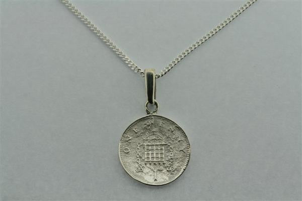 1 Penny Pendant On 55cm Link Chain Necklace