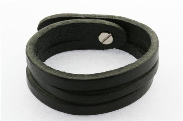 2 Cut Leather Cuff - black