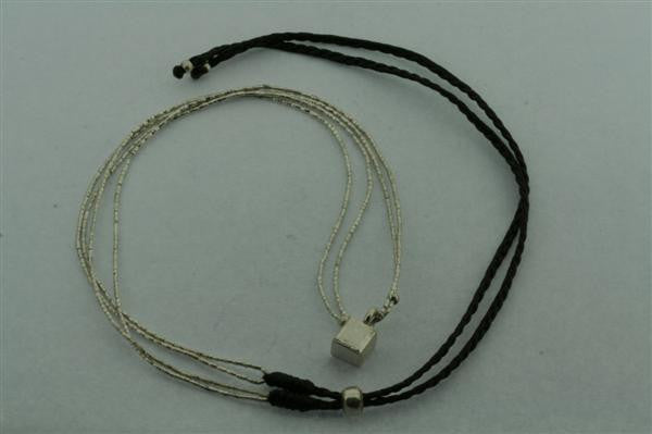 2 strand silver necklace - cube