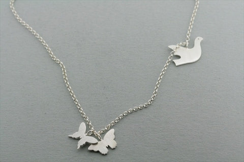3 disc butterfly & dove necklace