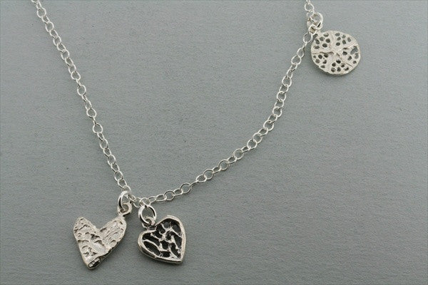 3 disc necklace - lace & heart