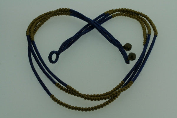 3 strand brass bead necklace - blue