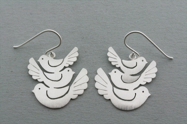 3 x bird earring - vertical