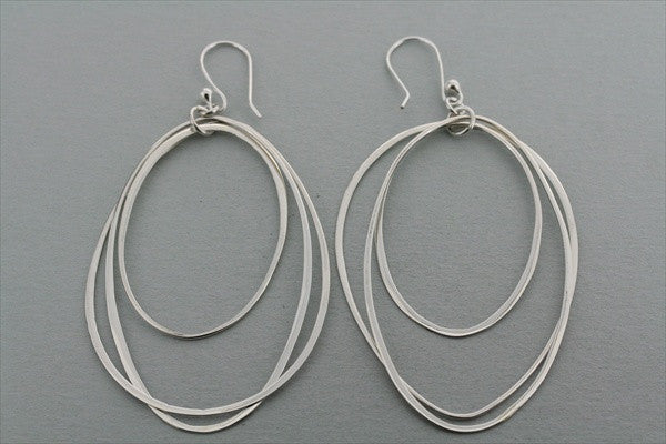 3 x oval hoop earrings