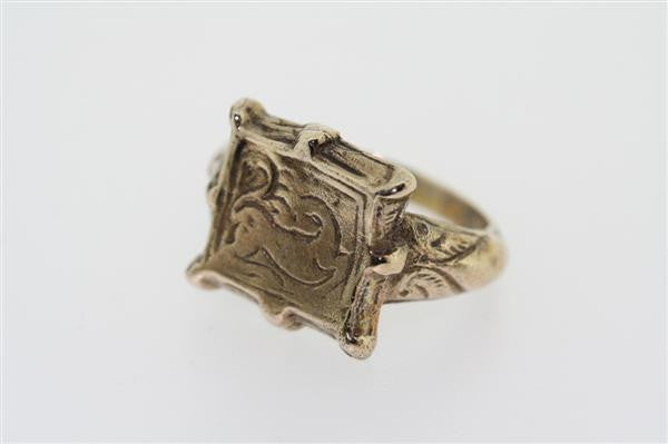 8 point square seal ring - bronze