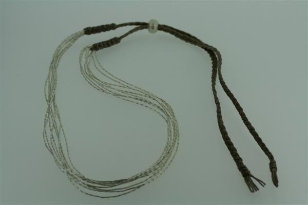 8 silver strand sand thread necklace