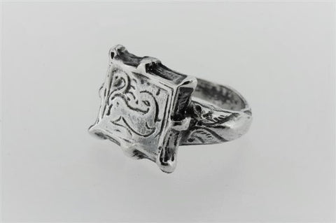 8 point square seal ring - sterling silver