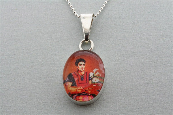 Frida pendant - red on 55cm ball chain