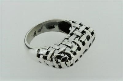basket weave tall ring - sterling silver