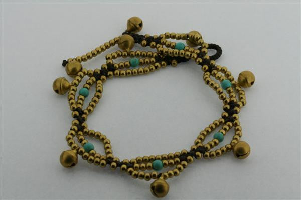 bell bead anklet - turquoise