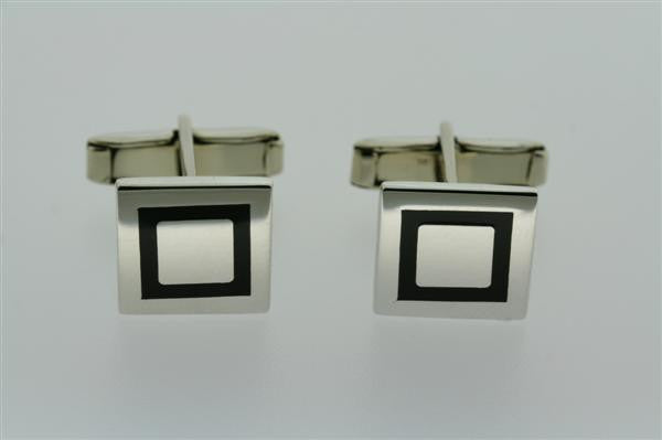 black border square cuff links