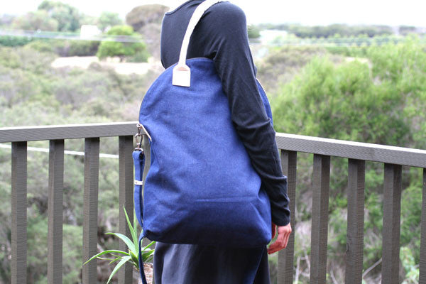 foldover bag - denim - indigo
