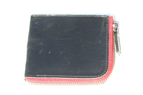 round the corner zip wallet - black with red zip - Italian leather