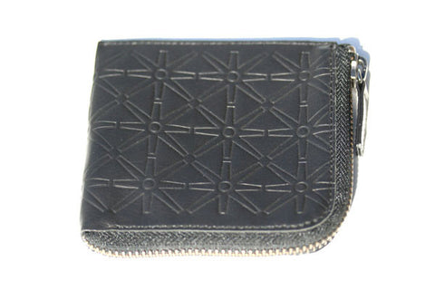 round the corner zip wallet - black embossed - Italian leather