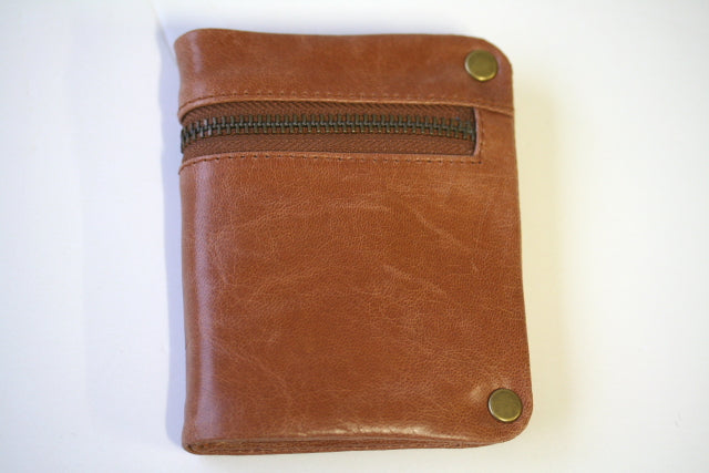 zip detail wallet - small - antique tan