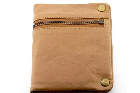 zip detail wallet - small - camel