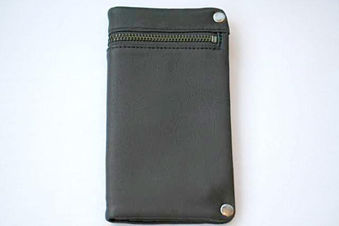 zip detail wallet - large - charcoal
